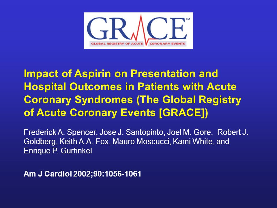Impact of Aspirin on Presentation and Hospital Outcomes in Patients with Acute Coronary Syndromes (The Global Registry of Acute Coronary Events [GRACE])